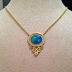 Lightning Ridge Black Opal Diamond Gold Arabesque Frame Necklace | From a unique collection of vintage chain necklaces at https://www.1stdibs.com/jewelry/necklaces/chain-necklaces/