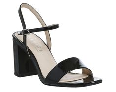 Office Millionaire Block Heel Sandals Black Patent