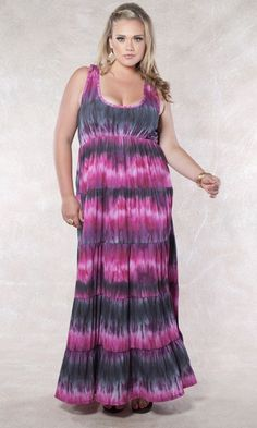 A stunning and sophisticated, plus size tiered maxi dress to wear with wedges or flats for a perfectly chic Summer ensemble. Vivid tie dye shades add extra style to this dress to take you to the beach and back.