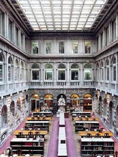 The Biblioteca Nazionale Marciana in Venice, Italy. The library was designed by Jacopo Sansovino and built between 1537 and 1588. It is one of the earliest surviving public manuscript depositories in the country, holding one of the greatest classical texts collections in the world. It has about a million printed books, 13,000 manuscripts (many illuminated), 2,883 incunabula and 24,055 works printed between 1500 and 1600. From Beautiful Libraries.com