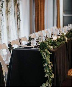 Church Wedding Flowers, Green Wedding, Wedding Colors, Black Wedding Decor, Gothic Wedding, Black Tablecloth Wedding, Wedding Tablecloths, Wedding Table Centerpieces, Reception Decorations