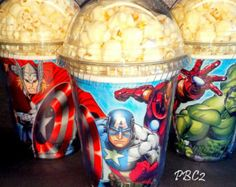 Avengers Birthday Party Popcorn Boxes with dome lid - don't need to order, just make your own. Avenger cups with a plastic cup and lid (pick up from Sam's or Costco) Hulk Birthday, Avengers Birthday, Superhero Birthday Party, 6th Birthday Parties, Man Birthday, Birthday Popcorn, Superhero Party Favors, Birthday Cakes, Birthday Ideas