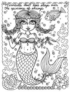 Instant Download Coloring Page Mermaids Color Book Adult Fantasy Art