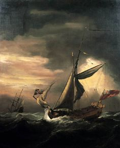 VELDE, Willem van de, the Younger [Dutch Baroque Era Painter, 1633-1707] Shipping in Heavy Seasc. 1675