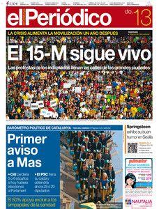 El #15M12M sigue vivo, en la portada de EL PERIÓDICO