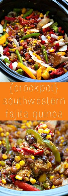 Dump and forget about it! Crockpot southwestern quinoa - packed with veggies and flavor!