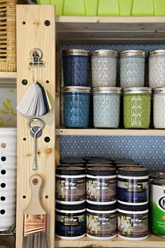 Organizing paints and paint supplies - use jars instead of clunky cans, paint swatches, magnetic storage, and more!