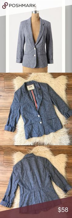 """Anthropologie Cartonnier textured chambray Blazer Good condition, no rips stains or pilling, black mark on tag as pictured, 55% linen, 45% cotton, color- blue, 17"""" bust laying flat, 24"""" long, 18"""" sleeve, no trading or modeling Anthropologie Jackets & Coats Blazers"""
