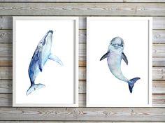 baby dolfijn schilderij  walvis aquarel  door Lemonillustrations