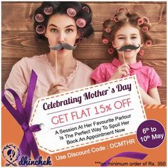 Our special #mothers #day offer flat 15% off on all #beauty #services. Use discount code DCMTHR ‪#‎book‬ ‪#‎appointment‬ at www.dhinchek.com  #online #spa #salon #hairdresser