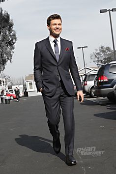 "Ryan Seacrest minutes before ""American Idol's"" March 29 episode. Suit by @Burberry, shoes by George Esquivel."