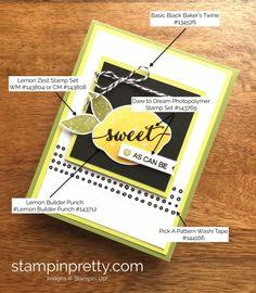 Stampin Up Lemon Zest Thank You Card Idea - Mary Fish StampinUp Supply List Mary Fish, Stampin Pretty, Karten Diy, Oranges And Lemons, Stampin Up Catalog, Making Greeting Cards, Stamping Up Cards, Card Maker, Supply List