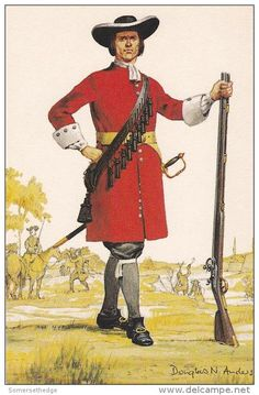 The Royal Regiment of Foot, Musketeer 1689 by Douglas N. British Army Uniform, British Soldier, Anglo Dutch Wars, Musketeer Costume, English Army, Age Of Empires, American Revolutionary War, Military History, 17th Century