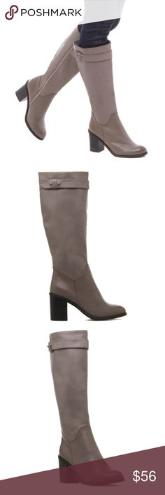 "Leesa grey knee length heeled boots Sale!! Brand new! Faux-leather grey knee high boots. ❤️Leila stone style with strap accent. ❤️Block heel and inner side. ❤️True to size  outside heel height: 3.25"". Inside heel height: 2.5"". Shaft height: 14"". Calf circumstance: 15"" Shoes Over the Knee Boots"