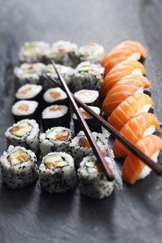sushi and salmon sashimi