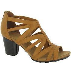 Easy Street Block Heel Sandals with Back Zip -Amaze