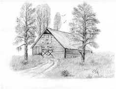 The Old Country Barn Drawing by Syl Lobato Landscape Pencil Drawings, Pencil Art Drawings, Landscape Art, Easy Drawings, Charcoal Drawings, Landscape Sketch, Barn Drawing, House Drawing, Painting & Drawing