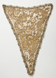 Stomacher, probably Italy, 1725-1775. Cream silk satin with silk and gold metallic-thread floral embroidery, sequins, seed pearls, and metallic-lace trim.