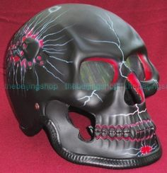 Black 3D Airbrush Skeleton Full Face Motorcycle Helmet