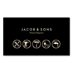 Home Repairs Gold Icons Business Card. This is a fully customizable business car… Home Repairs Gold Icons Business Card. Business Cards Layout, Real Estate Business Cards, Cool Business Cards, Business Logo, Business Card Design, Construction Business Cards, Construction Logo, Handyman Logo, Name Card Design