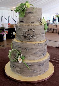 """Birch tree inspired cake! I love the """"carved"""" initials."""