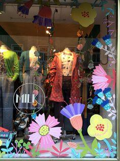 window art — maria over Window Mural, Window Signs, Spring Window Display, Window Displays, Charity Shop Display Ideas, Coffee Shop Logo, Yogurt Shop, Window Graphics, Backdrop Design