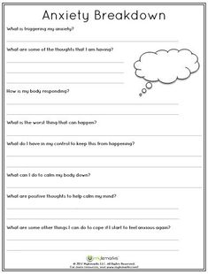 Therapeutic worksheets focused on helping kids and teens explore feelings of anxiety. Tools assist kids in identifying anxiety triggers, healthy coping skills, and positive ways to relieve stress. Counseling Worksheets, Therapy Worksheets, Counseling Activities, Family Therapy Activities, Social Work Activities, Coping Skills Activities, Self Esteem Worksheets, Cbt Worksheets, Coping Skills