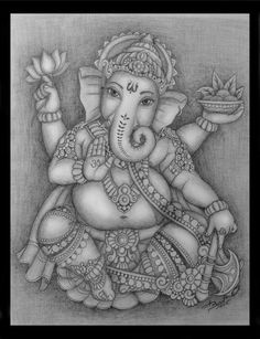 lord ganesha by basantmistry on DeviantArt Ganesha Drawing, Lord Ganesha Paintings, Ganesha Art, Kerala Mural Painting, Tanjore Painting, Indian Art Paintings, Ganesha Tattoo Lotus, Lotus Tattoo, Buda Tattoo