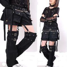 2Piece Trendy Black Punk Rave Rock Clothing Shorts & Leg Warmers SKU-11404032
