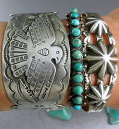 Old Old Dead Pawn Classic Green Snake Eye Turquoise Row Cuff Bracelet