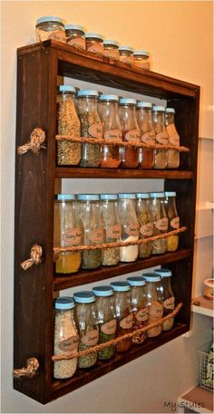 Rustic Wooden Spice Rack – rustic home diy Spice Rack Rustic, Diy Spice Rack, Wooden Spice Rack, Spice Shelf, Pallet Spice Rack, Spice Rack For Kitchen, Spice Rack On Wall, Spice Rack Made From Pallets, Build A Spice Rack