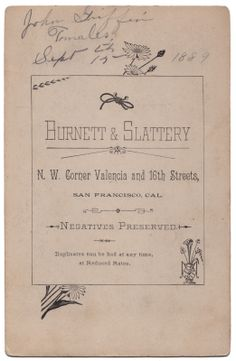 Burnett & Slattery photographers, carte de visite circa 1889