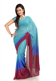 Shaded Light Blue and Maroon Faux Georgette Saree With Blouse Online Shopping: SXS751