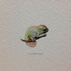 Day 218 : Trapsuutjies. 20 x 15 mm. #365paintingsforants #miniature #watercolor #painting #chameleon