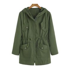 SheIn(sheinside) Army Green Hooded Drawstring LONDON Print Coat ($22) ❤ liked on Polyvore featuring outerwear, coats, jackets, tops, green, leather-sleeve coats, zip coat, long coat, green hooded coat and green coat