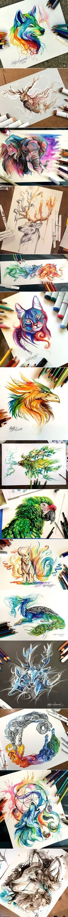 Week of 3/27 These pictures of the different animals are all very unique and different. I love how the lines twirl and wisp on the paper. Those lines help the animal come to life on the page.