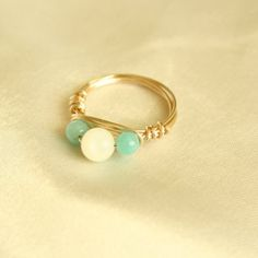 Rose Gold Wire Wrapped Ring with Shell and Amazonite Beads