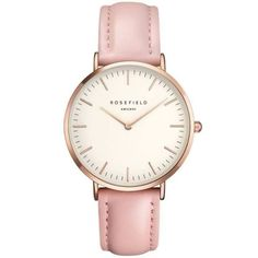 Tribeca Or Rose montre pour femme - bracelet en cuir rose Pink Watch, Cuir Rose, Rose Gold Watches, White Watches, Quartz Watches, Bracelet Cuir, Bracelet Watch, Rose Gold Jewelry