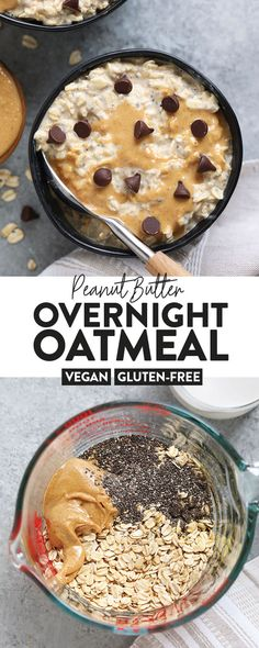 Peanut Butter Overnight Oats are the best breakfast in so many ways! Made with rolled oats, chia seeds, all-natural peanut butter, and almond milk, this vegan overnight oats recipe is a winner. Peanut Butter Overnight Oats (ve Overnight Oats Almond Milk, Low Calorie Overnight Oats, Overnight Oats In A Jar, Oatmeal With Almond Milk, Best Overnight Oats Recipe, Oatmeal Cups, Baked Oatmeal, Chia Seed Breakfast, Best Breakfast