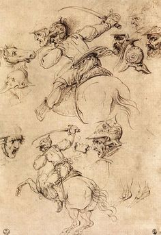LEONARDO DA VINCI - Studio di Battaglie a cavallo  1503 - 1504 - Degli Uffizi - Dipartimento di Stampe e Disegni - Firenze