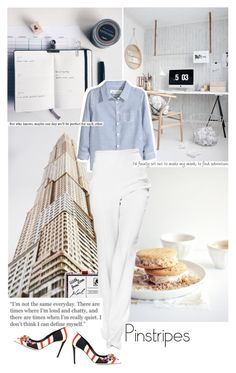 """let's wear it - pinstripes - at work!"" by mademoiselledeea ❤ liked on Polyvore featuring Karl Lagerfeld, H&M and Dolce&Gabbana"