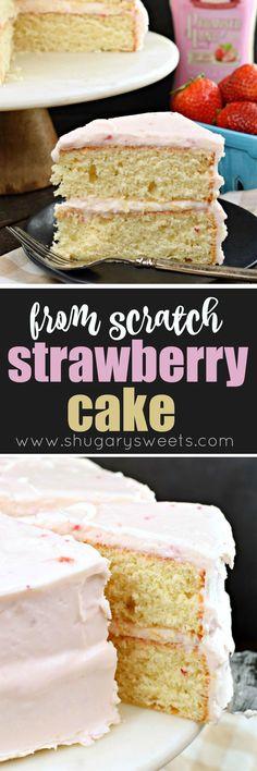 Strawberry Layer Cake, from scratch #buttercream #frosting #farfromordinarymilk #sponsored #strawberry #cake #dessert