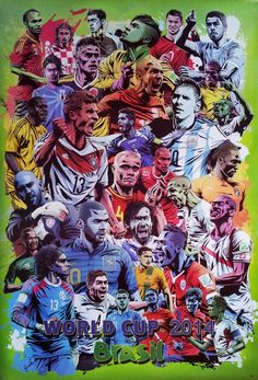FIFA World Cup Brazil 2014 Poster Mix 23x34 Graphic Style Football Team Pop Art   eBay