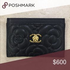 Authentic Chanel Camellia Card Holder Authentic 2016 version Chanel card holder. It is made out of caviar and with gold hardwares. Full box with Nordstrom tag!! Check out my closet for Camellia WOCS in rare colors as well!!! CHANEL Accessories Key & Card Holders