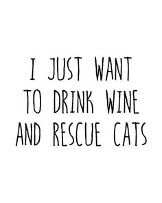 I Just Want to Drink Wine and Rescue Cats, Cat Decor, Cat Art, Typography, Wine Art, Wine Decor, Ins