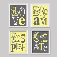 Yellow Grey Love Dream Inspire Create Colorful Bold Life Quote Print Typography Artwork Set of 4 Prints Wall Decor Art Pictures Bedroom. $38.50, via Etsy.