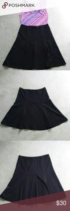 "Liz Claiborne Black A-line Skirt Liz Claiborne Black A-line Skirt. Fully lined. Hook & eye with back zipper close.    Flat lay measurements :  Waist 17"", hips almost 20"", length almost 25""  Shell: 88% polyester & 12% spandex. Lining : 100 % polyester   Excellent condition. No rips, stains, or imperfections. Smoke free house.   Reasonable offers are accepted and I discount bundles. Liz Claiborne Skirts A-Line or Full"
