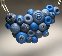 Blue Pods Bib Necklace  OOAK Polymer Clay Jewelry by DeliciousHobo, $48.00