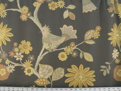 Birds Fabric Graphite/Gray Gold BlueGray Tan by EnglesideManor, $28.33 - another fabric option for kitchen valance
