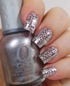 silver glequin New Year's Eve nails